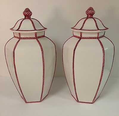 "Pair of Vintage Porcelain Italian 13"" Urns Ginger Jars White/Red Cord Trim"