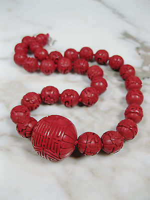 Antique Chinese Carved Red Cinnabar Silver Clasp Necklace W Large 28Mm Shou Bead