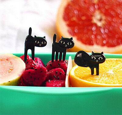 6Pcs Cute Easy Fork Little Quality Baby Decoration Gifts Fruit Cat Friendly