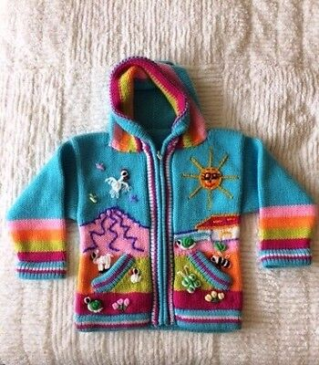 *NEW* Hand Knit Alpaca Wool Toddler Childrens Sweater Hoodie Size 2 Made in Peru