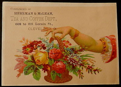 Tradecard HERRMAN & McLEAN Cleveland Ohio TEA AND COFFE DEPT - BEAUTIFUL BOUQUET