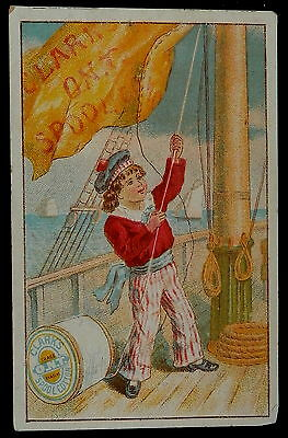Victorian Trade Card CLARK O.N.T. SPOOL COTTON Little boy In Sailor Suit   CUTE
