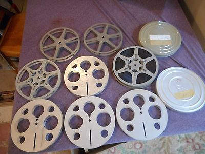 Lot of 8 Vintage Eastman Kodak & Brumberger 7 Inch 16 mm Film Reels