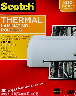 Scotch Thermal Laminating Pouches Letter Size 3 mil 8.5 x 11 inches, 200 Sheets