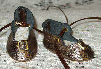 For Bleuette~Handmade Leather Doll Shoes ~German Style~ Bronze