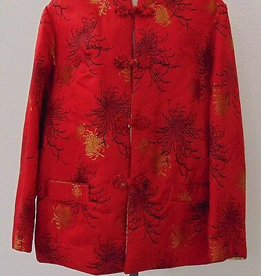 Women's Chinese Red and Yellow Reversible Silk Brocade Women's Jacket - XL