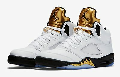 NIKE AIR JORDAN Retro 5 Olympic Gold Coin Size 3.5-18 White ...