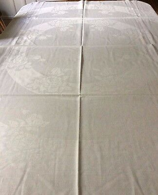 Beautiful Antique Damask White Linen Tablecloth 72x68