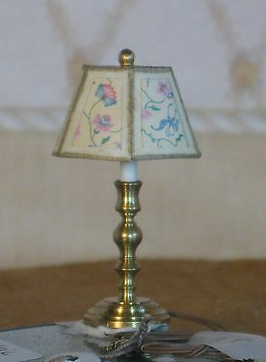 Clare Bell Electric Lamp w/ Richardson Lampshade - Dollhouse Miniature (WRL-105)