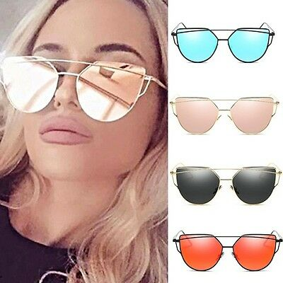 Women's Fashion Double Metal Len Mirrored Oversized Sunglasses Vintage Eyewear
