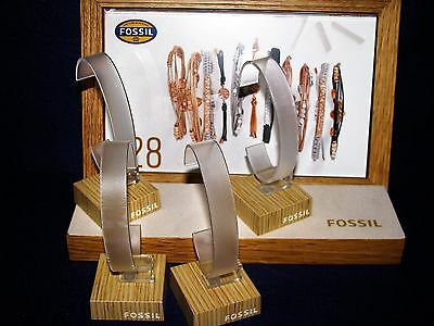 LOT OF  Fossil FAUX WOOD/WOOD ENGRAVED FOSSIL Watch Display Stands -