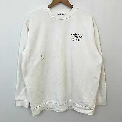 VTG 90s Tommy Hilfiger Tommy Girl Sweatshirt Womens SZ M Spell Out Polo Hip Hop