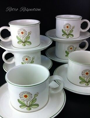 RETRO Midwinter Fleur Set of 6 Cups and Saucers - Daisy Motif