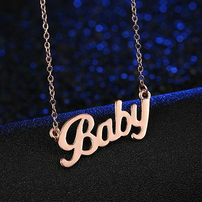 Womens Gold Plated Link Chain BABY Love Pendant Charm Fashion Necklace #N70