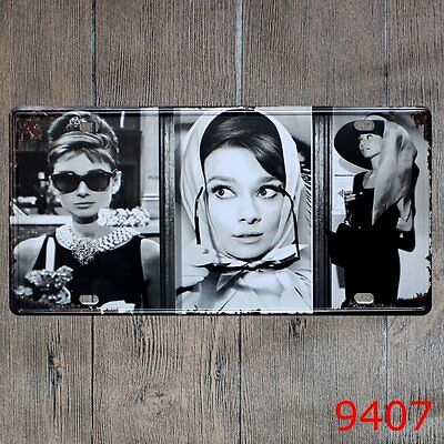 Metal Tin Sign Audrey Hepburn Decor Bar Pub Home Vintage Retro Poster Cafe ART