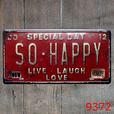 Metal Tin Sign so happy Decor Bar Pub Home Vintage Retro Poster Cafe ART