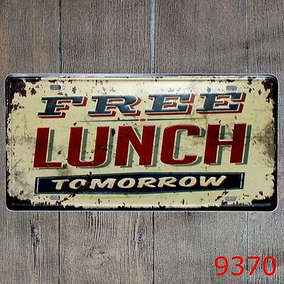 Metal Tin Sign free lunch  Decor Bar Pub Home Vintage Retro Poster Cafe ART