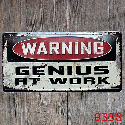Metal Tin Sign warning genius at work Decor Bar Pub Home Poster Cafe ART