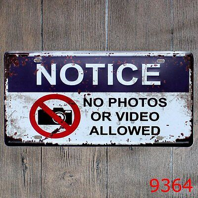 Metal Tin Sign notice no photos Decor Bar Pub Home Vintage Retro Poster Cafe ART