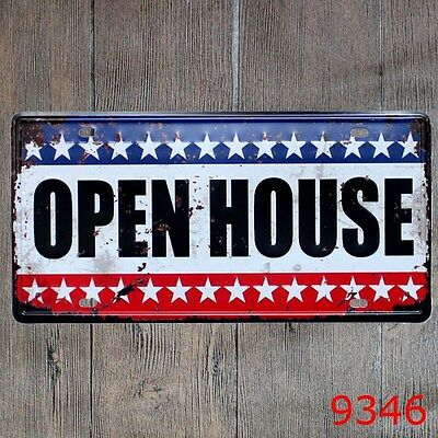 Metal Tin Sign open house Decor Bar Pub Home Vintage Retro Poster Cafe ART