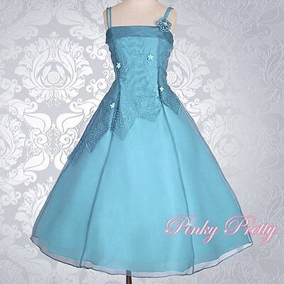 Teal Blue  Organza Flower Girl Dresses Wedding Bridesmaid Party Size 3y-4y FG188