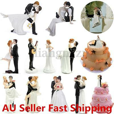 Romantic Bride & Groom Figure Wedding Cake Toppers Couple Bridal Decoration AU