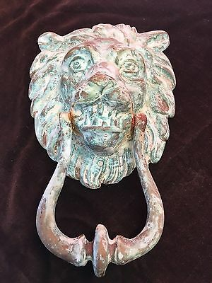Vintage Old Reclaimed Brass Lion Head Front Door Knocker - Victorian Edwardian