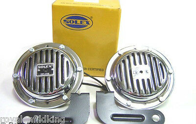 New Royal Enfield Bullet Chromed Pair 12Volt  Horn Covered+Fixing Bracket