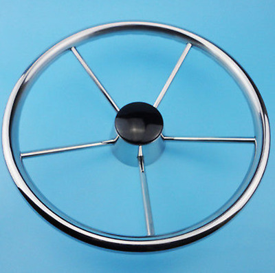 13-1/2'' Boat Steering Wheel Stainless Steel 5 Spoke 25 Degree For Marine Yacht