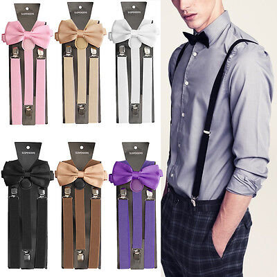 Mens Clip-on Suspenders Elastic Adjustable Y-Back Braces With Bow Tie Suit Set