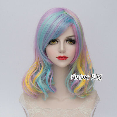 Lolita Multi-Coloured Short Curly Fashion Harajuku Party Cosplay Wig + Wig Cap