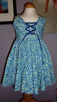 Young Girls/Toddler Vintage Dress~Handmade 1950s 60s~Pretty Blue Floral Print