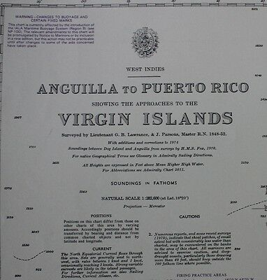 0130 Virgin Island Puerto Rico Nautical Chart Map Navigation Rare Collectables