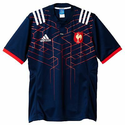 France Rugby Home Shirt Jersey Top Short Sleeve 2017-18 adidas Mens Blue