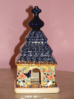 UNIKAT Polish Pottery Luminary Church Tea Light! Butterfly Summer Pattern!