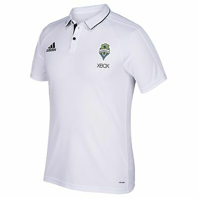 adidas Mens Gents Football Seattle Sounders Coaches Polo Shirt Top - White
