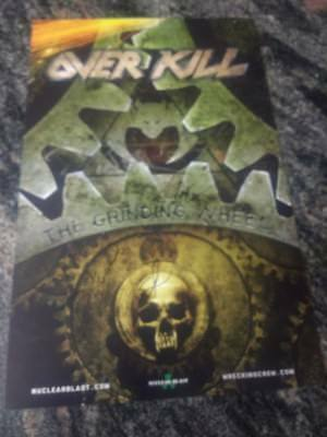 Overkill Grinding Wheel Poster autographed by 4 members  11 by 17  signed