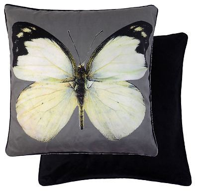"Butterfly Cream Grey Black Velvet Piped 18"" - 45Cm  Cushion Cover"