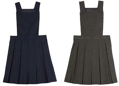 Girls School Bib Pinafore Dress, Permanent Pleats, Navy & Grey School Uniform