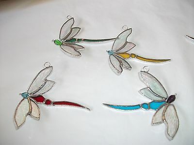 4 Handmade Stained Glass dragonfly's Sun-catcher