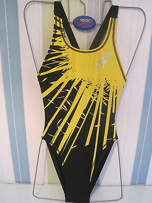 Speedo Swimwear Female  Black/yellow Explode Lined High Leg Lycra Leaderback