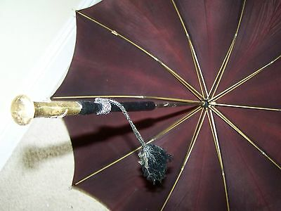 Vintage Antique Beautiful Umbrella/Parasol Gold Tip On Wooden Handle Quality