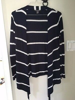 A Pea in the Pod Navy & White striped open front maternity sweater - Small
