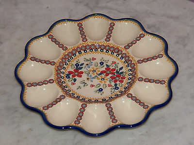 Genuine UNIKAT Hand Made Polish Pottery Egg Tray! Rembrandt Pattern!