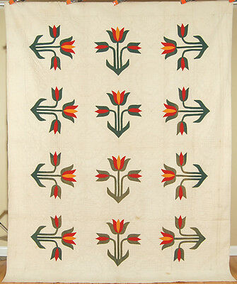 Vintage 1870s Red Green & Cheddar Tulip Applique Antique Quilt ~AMAZING QUILTING