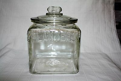 Vintage Square Planters Peanuts Store Counter Jar with Embossed Lid - 1934