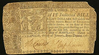 Maryland Colonial Currency - January 1, 1767 -$8