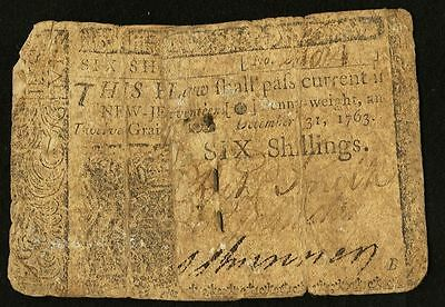 New Jersey Colonial Currency - December 31, 1763 -6 Shillings