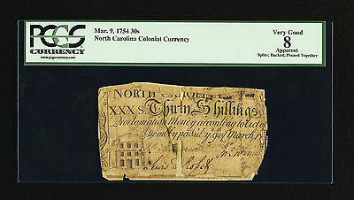 North Carolina Colonial Currency - March 9, 1754 -30 Shillings