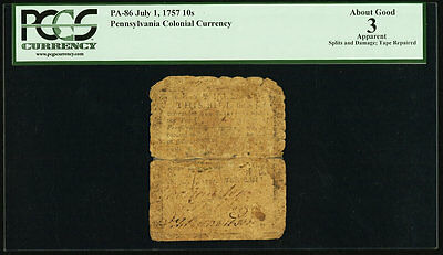 Pennsylvania Colonial Currency - July 1, 1757 -10 Shillings